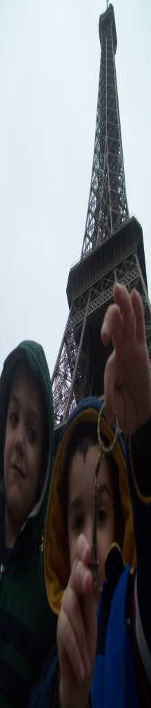 Joshua and Jonah in front of the Eiffel tower