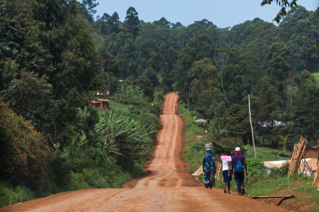 People walking down a road in the northwest of Cameroon.