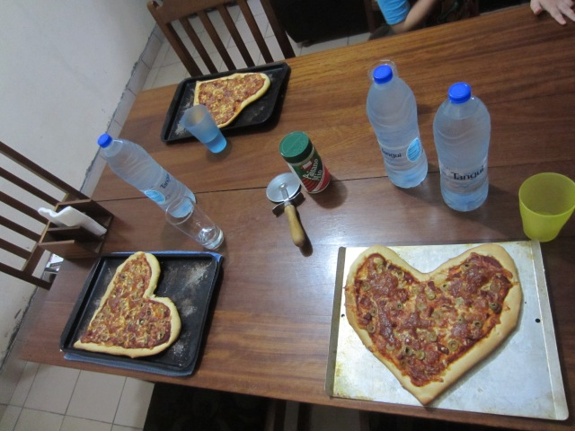 homemade individual Valentine's pizzas
