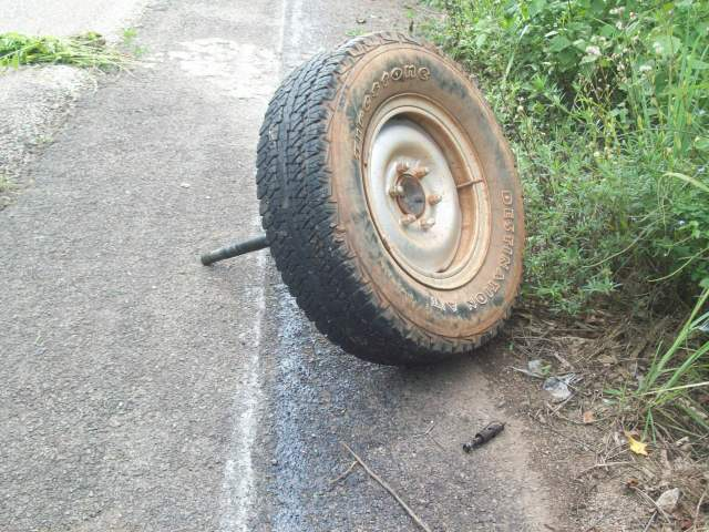 tire with axel rod still attached